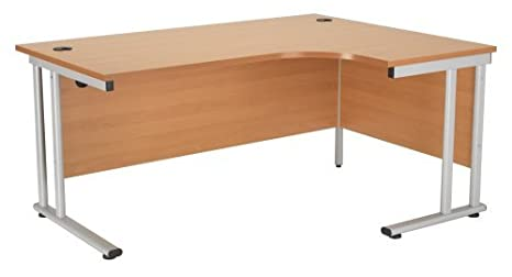Right Hand Crescent Desk 1600mm, Ergonomic Desk in Beech - Smart Office Furniture Range