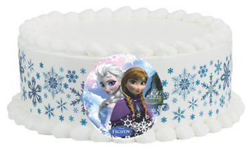 Cakesupplyshop Diy1002 - Do It Yourself Snowflakes Edible Border & Disney Frozen Edible Image Birthday Party Cake Decoration Kit - 8inch Cake