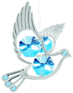 Hanging Sun Catcher or Ornament..... Dove With Blue Swarovski Austrian Crystals