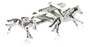 Silver Horseracing Cufflinks with Jockey and Horse with Presentation Box