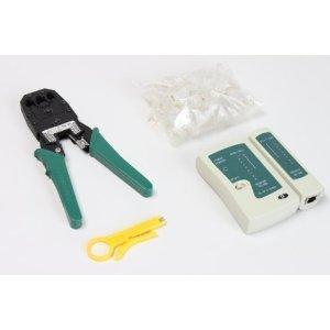 LANケーブルテスター+モジュラーペンチ(かしめ圧着工具)+皮むき工具+LANプラグ50個 セット