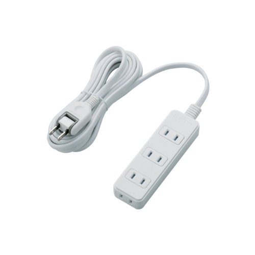 ELECOM 電源タップ ほこり防止シャッター付き 配線しやすい180°スイングプラグ 4個口 3m ホワイト T-ST02-22430WH