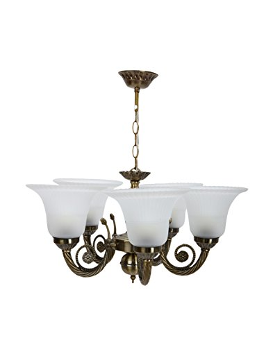 Aesthetichs Antique Chandelier with 5 White Glasses