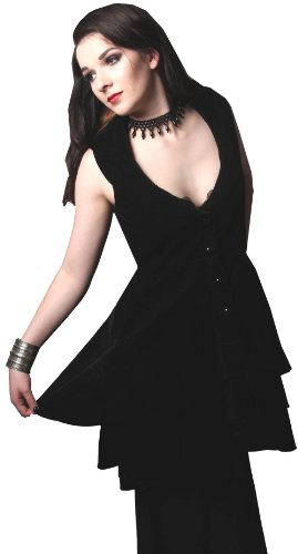 Black - Velvet Tailored Flared Victorian Steampunk Gothic Dress Frock-Coat Waistcoat Sizes 14