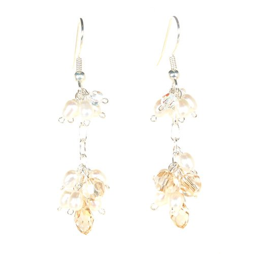 Pearl & Briolette Drop Swarovski Earrings