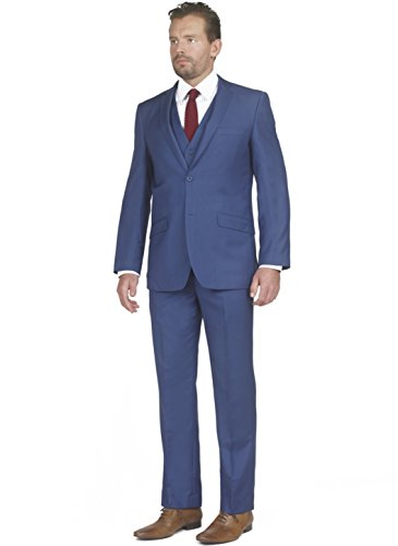 Mens Tight Slim Fit Notched Lapel 3 Piece Suit with Regular-cut Jacket by Taheri