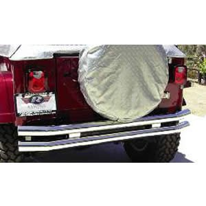 Rampage R8448 Stainless Rear Double Tube Bumper With Hitch For 1976-06 Jeep CJ & Wrangler