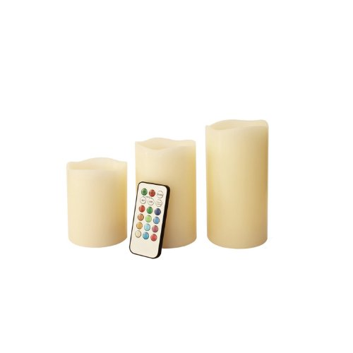 Cozyswan (Tm) Glow Led Ivory Wax 3 Weatherproof Outdoor And Indoor Color Changing Candles With Remote Control & Timer (18 Keys)