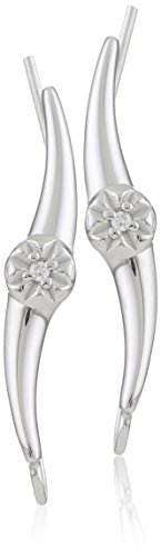 The Ear Pin 10k White Gold Diamond Earrings (0.02 cttw, I-J Color, I2-I3 Clarity)