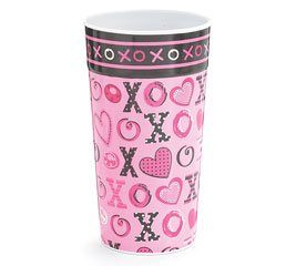 Pink & Black XOXO Hot Hearts Vase Melamine Hearts Love