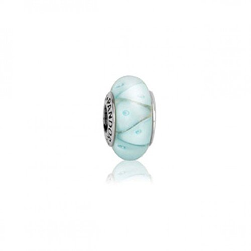 USED Discontinued Pandora charm bead Murano Glass Blue Looking Glass 790923~Fits chamilia Bracelets~S925 ale Silver core
