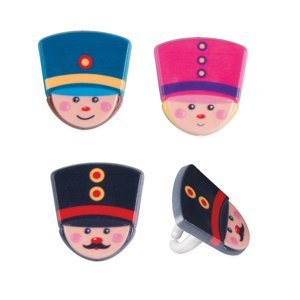 12 ct. ~ Toy Soldier Assorted Rings ~ Cake Decoration ~ Cupcake Decoration