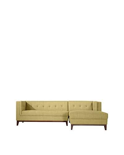 Kardiel Harrison Modern Loft Sofa Chaise RAF Sectional, Lemon Grass