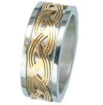 9MM High Polished Stainless Steel Ring With Gold Plated Celtic Design Inlay in Center