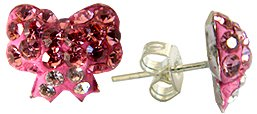 Silver crystal Stud Earrings by GlitZ JewelZ © - cute bow design bling bling!! - made with over 40 swarovski crystals - comes packed inside a lovely velvet pouch - Pink Sapphire color
