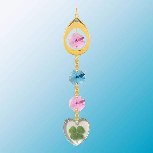 24K Gold Plated Hanging Sun Catcher Or Ornament..... Almond Icon Hanging Charm With Heart Shaped Four Leaf Clover & Pink Swarovski Austrian Crystals front-552713