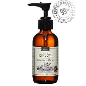Organic Body Oil - Naturally Relaxing, Moisturizing - Lavender Citrus 4fl.oz/120ml from Antho Organic