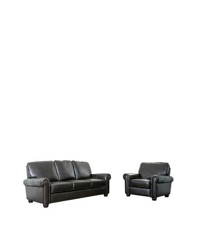 Abbyson Living Ledger Top Grain Leather Sofa & Armchair, Dark Truffle