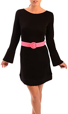 Alice and Olivia Women's Crewneck Belted Sweater Dress Black MD