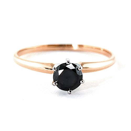 QP Jewellers Natural Black Diamond Ring in 9ct Rose Gold, 0.50ct Round Cut - 2352R