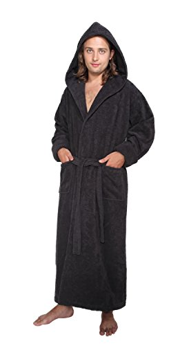 arus men 39 s hood 39 n full ankle length hooded turkish cotton bathrobe l black apparel accessories. Black Bedroom Furniture Sets. Home Design Ideas