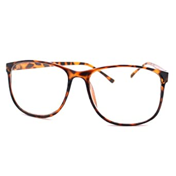 large nerdy thin plastic frame clear lens eye glasses frame clothing