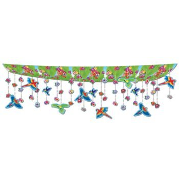 Beistle 50336 Flowers and Birds Ceiling Decor, 12-Inch by 12-Feet