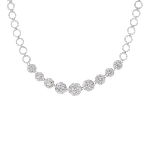 14k White Gold 5.63 Carat Diamond Circle Links