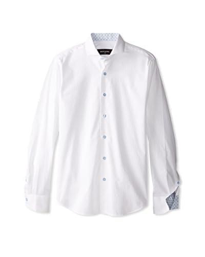 Bogosse Men's Tonal Stripe Sportshirt with Contrast Printed Cuff