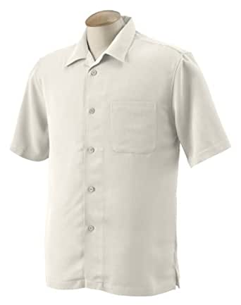 Harriton Men's Camp Shirt, 4XL, Creme