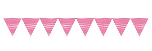 Creative Converting 293313 Paper Flag Banner Party Decor with Polka Dots, Pink