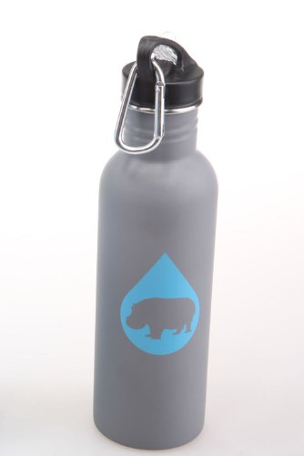 Heavy Hydration 25 Oz Stainless Steel Water Bottle With Flip Up Cap And Straw - Wide Body Standard Neck Single Wall Carabiner Clip Bpa Free (Gray/Grey) front-164729