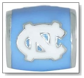 University of NORTH CAROLINA UNC Tar Heels Logo Blue 925 Silver European College Charm Bead