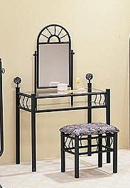 Sunburst Design Black Finish Metal Vanity Table Mirror & Stool/Bench Set