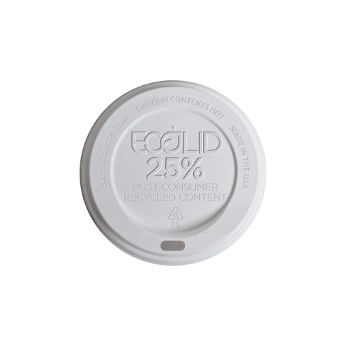 Eco-Products Ep-Hl16-Wr Ecolid White 25% Recycled Polystyrene Lid, For 10-20Oz Hot Cup (10 Packs Of 100)