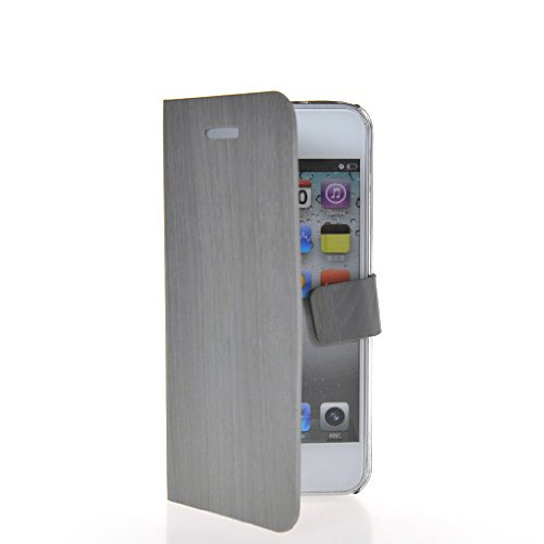 CASEPRADISE Wood Grain Flip Cover Leather Pouch Stand Shell Case Cover With 1x Screen Protector For Apple Iphone 5 5G 5S Grey