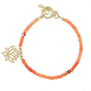 Gold Vermeil Lotus Flower Blossom, Swarovski Crystal and Orange Carnelian Beaded Gemstone Toggle Bracelet, 7 1/2