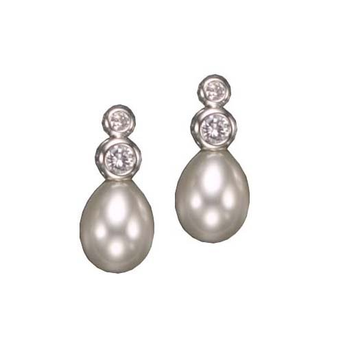 Brenna's 925 Sterling Silver Stud Earrings Round Pearls w/ 2-Round Set Cubic Zirconia Accent - Incl. ClassicDiamondHouse Free Gift Box & Cleaning Cloth