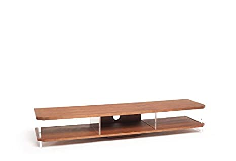 TECHLINK AI160W Air TV Stand with Walnut Frame and Clear Glass Sides for Screens up to 80-Inch