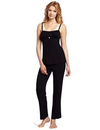 Betsey Johnson Women's Luscious Lite Stretch Lace Pajama Set, Raven Black, Medium