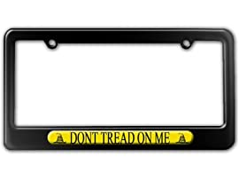 Gadsden Flag Don't Tread on Me License Plate Tag Frame - Shiny Black