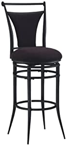 Hillsdale Cierra 26-Inch Swivel Counter Stool, Black finish with Black Faux-Suede Fabric