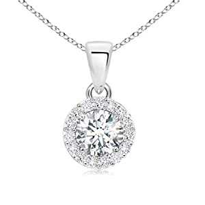 Cyber Monday and Black Friday - Prong Set Round Diamond Halo Pendant in Platinum