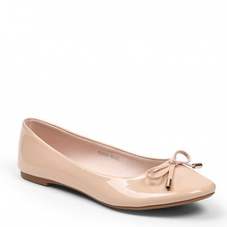 Ideal Shoes-Ballerine in vernici e Tahani colorate, Beige (Beige), 37