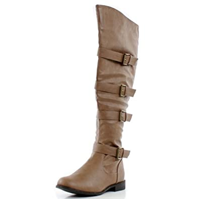 ac43a77f4b4 West Blvd Womens TEHRAN THIGH HIGH Boots Over The Knee Motorcycle Biker  Riding Flat Heels Shoes