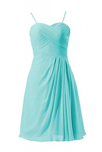 Daisyformals Short Sweetheart Chiffon Wedding Dress W/Spaghetti Straps(Bm732As)- Tiffany Blue