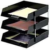 Set Of 3 Black A4 Foolscap Desk File Letter Trays & 8 Metal Riser Rods