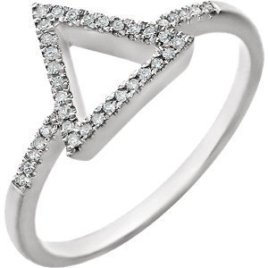 14kt White 1/10 CTW Diamond Geometric Ring