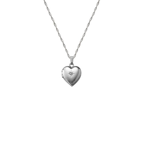 14k White Gold Children's Heart Locket with Genuine Diamond Necklace, 15