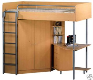 Atlantis High Sleeper Bunk Bed With Desk And Wardrobe